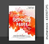 summer party flyer  template... | Shutterstock .eps vector #633507191