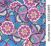 vector seamless abstract floral ... | Shutterstock .eps vector #633516845