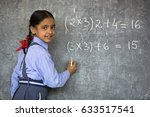 rural school girl writing on... | Shutterstock . vector #633517541