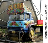 Small photo of Bodelva, Cornwall, UK - April 4 2017: Colourful sugar truck at the Eden Project in Cornwall, England