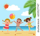 happy kids jumping on the beach | Shutterstock .eps vector #633527747