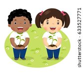 kids holding young plant | Shutterstock .eps vector #633527771