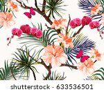 seamless vector  summer pattern ... | Shutterstock .eps vector #633536501