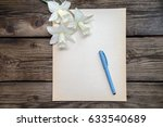 a blank sheet of old paper with ... | Shutterstock . vector #633540689