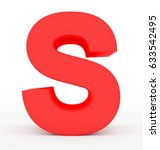 Letter S 3d Red Isolated On...