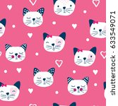 seamless pattern with cat ... | Shutterstock .eps vector #633549071