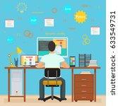 man programmer back working on... | Shutterstock . vector #633549731