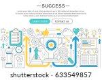 elegant thin flat line success ... | Shutterstock . vector #633549857