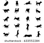 Stock vector set vector silhouettes of dogs jack russel terrier in black color cut out on white background 633552284