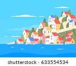 houses on coast of greece   Shutterstock .eps vector #633554534