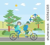 old couple cycling. happy... | Shutterstock . vector #633561335