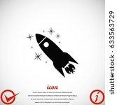 rocket icon vector  flat design ... | Shutterstock .eps vector #633563729