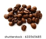 coffee beans isolated on white... | Shutterstock . vector #633565685