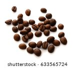 coffee beans isolated on white... | Shutterstock . vector #633565724