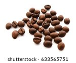 brown and black coffee on white ... | Shutterstock . vector #633565751