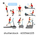 cardio workout exercises on... | Shutterstock . vector #633566105