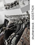clothes hanging in shop | Shutterstock . vector #63357424
