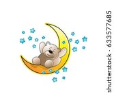 color cartoon bear sleeping on... | Shutterstock .eps vector #633577685