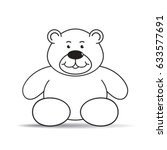 black outlined cartoon bear... | Shutterstock .eps vector #633577691