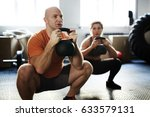 young sporty woman and middle... | Shutterstock . vector #633579131