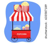 trolley with popcorn | Shutterstock .eps vector #633587189