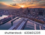 sunset over montreal downtown | Shutterstock . vector #633601235
