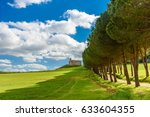 country road in tuscany along... | Shutterstock . vector #633604355