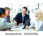 business people shaking hands ...   Shutterstock . vector #63361036