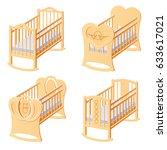 set of brown  ot with mattress. ... | Shutterstock .eps vector #633617021