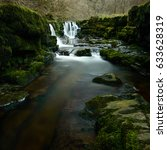 Small photo of Rocks in front of the Waterfall at Sgwd Isaf Clun-Gwyn waterfall, Brecon Beacons, Wales