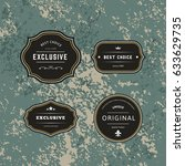 set dark of hipster labels with ... | Shutterstock .eps vector #633629735