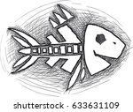 doodle fish skeleton isolated... | Shutterstock .eps vector #633631109