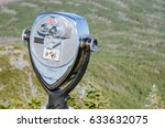Small photo of Coin Operated Binoculars for Tourists on the top of Whiteface Mountain, Adirondacks, NY.