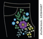embroidery stitches for jeans ... | Shutterstock .eps vector #633644687