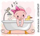 cute cartoon baby girl in the...   Shutterstock .eps vector #633648569