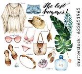 watercolor fashion illustration.... | Shutterstock . vector #633651965