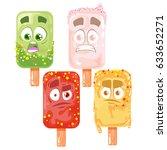 vector ice cream set of... | Shutterstock .eps vector #633652271