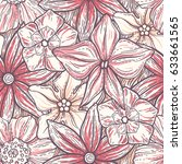 hand drawn pattern with... | Shutterstock .eps vector #633661565