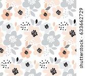 romantic pale color floral... | Shutterstock .eps vector #633662729