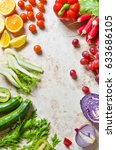 fruits and vegetables isolated... | Shutterstock . vector #633686105