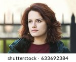 beautiful young girl with dark... | Shutterstock . vector #633692384