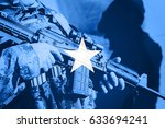 soldier with machine gun with... | Shutterstock . vector #633694241