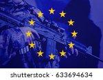 Soldier with machine gun with flag of European Union