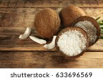 grated coconut in shell and... | Shutterstock . vector #633696569