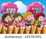 children hiking in candy world...