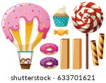 different types of sweets... | Shutterstock .eps vector #633701621