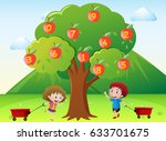 Happy Kids And Numbers On Appl...
