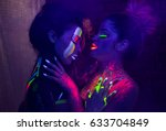 sexy lesbian models in uv neon... | Shutterstock . vector #633704849