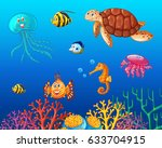turtle and sea creatures in... | Shutterstock .eps vector #633704915