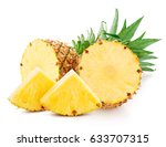 pineapple fruit with slices... | Shutterstock . vector #633707315